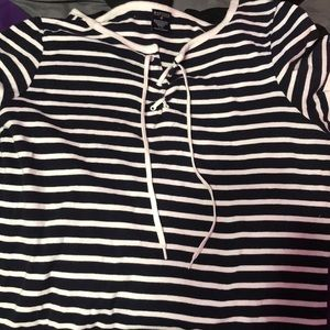 Striped shirt w lace up front